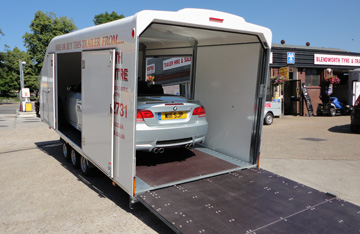 Covered car trailers for hire, race shuttles, enclosed shuttles - Hampshire enclosed trailers for hire